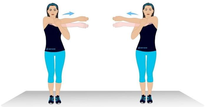 تمرین کشش بازو در قفسه سینه برای درمان درد شانه